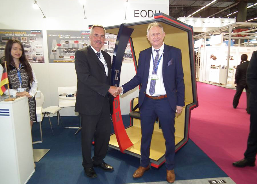 Mr. Adreas Mitsis CEO of EODH and Senior Vice President Division Combat Systems for KMW Mr. Ralf Ketzel met at the EODH Pavilion to review the ongoing projects